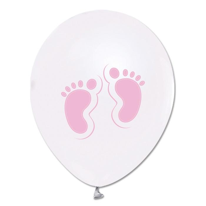 Pembe Ayaklar Baskılı Metalik Beyaz Balon 100 Adet