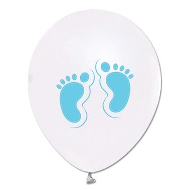 Açık Mavi Ayaklar Baskılı Metalik Beyaz Balon 100 Adet