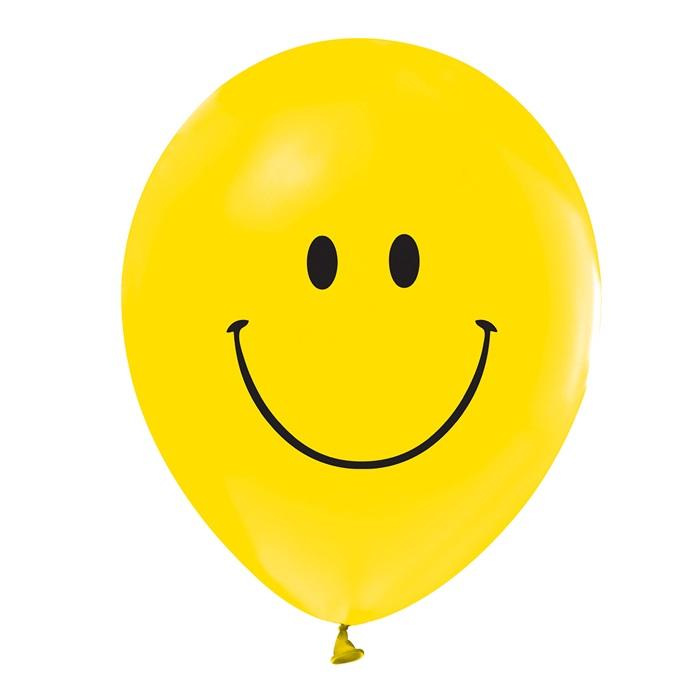 Gülen Yüz Baskılı Sarı Balon 100 Adet