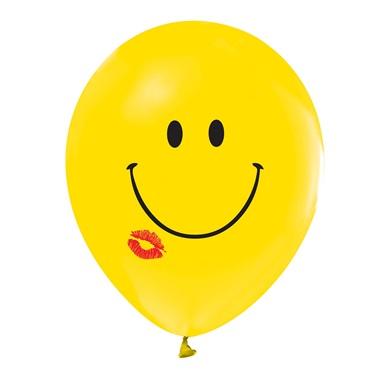 Gülen Yüz Baskılı Öpücük Sarı Balon 100 Adet