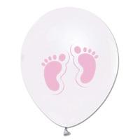 Pembe Ayaklar Baskılı Metalik Beyaz Balon