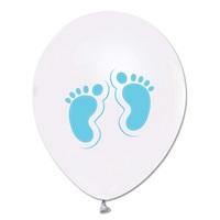Açık Mavi Ayaklar Baskılı Metalik Beyaz Balon