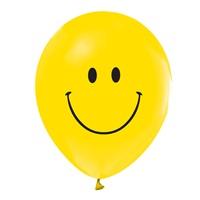 Gülen Yüz Baskılı Sarı Balon 15 Adet