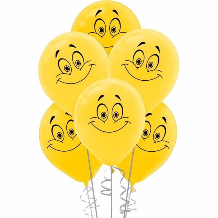 Gülen Yüz Baskılı Öpücük Sarı Balon