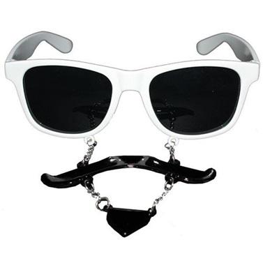 Beyaz Top Sakallı Bıyıklı Gözlük