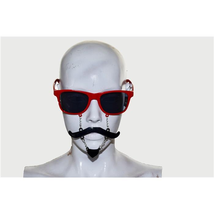 Kırmızı Top Sakallı Bıyıklı Gözlük
