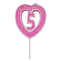 5 Rakamlı Kalpli Mum Pembe
