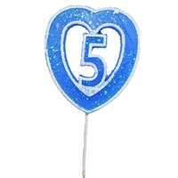 5 Rakamlı Kalpli Mum Mavi