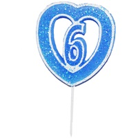 6 Rakamlı Kalpli Mum Mavi