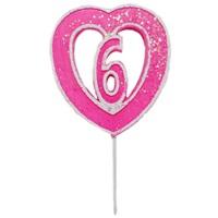 6 Rakamlı Kalpli Mum Pembe