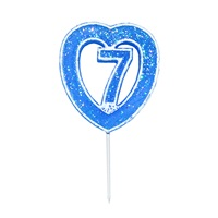 7 Rakamlı Kalpli Mum Mavi