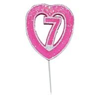 7 Rakamlı Kalpli Mum Pembe