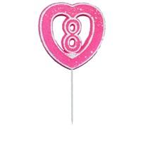 8 Rakamlı Kalpli Mum Pembe