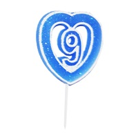 9 Rakamlı Kalpli Mum Mavi