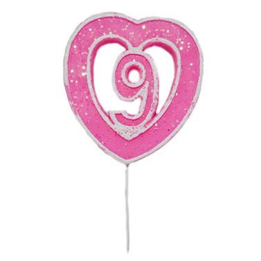 9 Rakamlı Kalpli Mum Pembe
