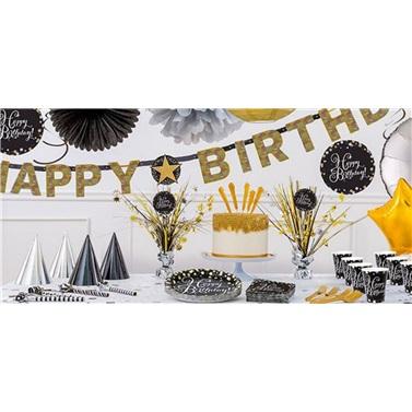 Happy Birthday Siyah Altın Renkli 16 Kişilik Set