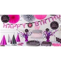 Happy Birthday Siyah pembe Renkli 16 Kişilik Set
