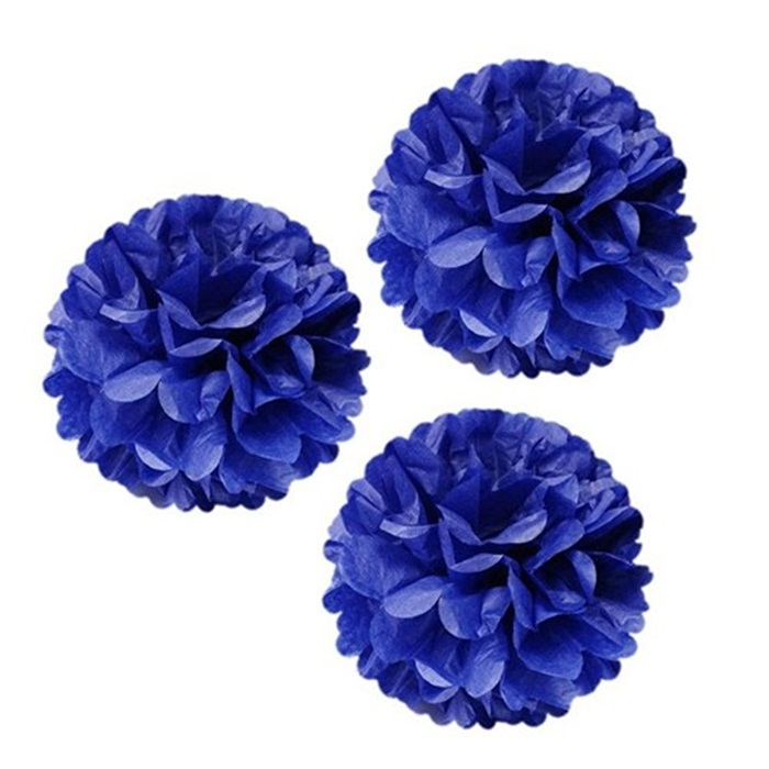 Ponpon Çiçek Süs Koyu Mavi