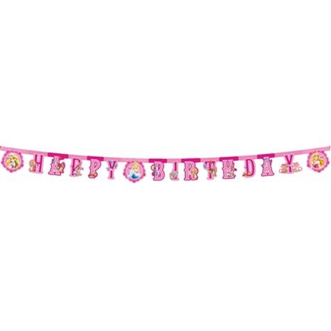 Prenses Temalı Happy Birthday Banner