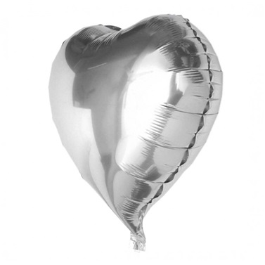 Gümüş Kalp Folyo Balon