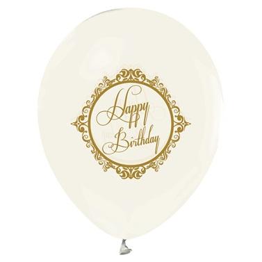 Gold Renkte Happy Birthday Baskılı Şeffaf Latex Balon