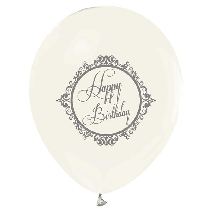 Gümüş Renkte Happy Birthday Baskılı Şeffaf Latex Balon