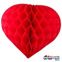 Kırmızı Kalp Petek Süs