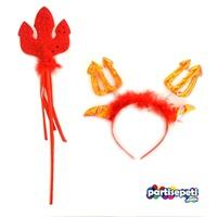 Kırmızı Mızraklı Ve Taçlı Şeytan Set