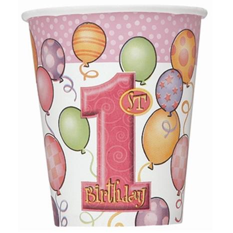 1 Yaş Temalı Kız Balonlu Bardak