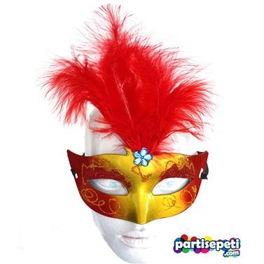 Kırmızı Tüylü Lüx Gold Parti Maskesi