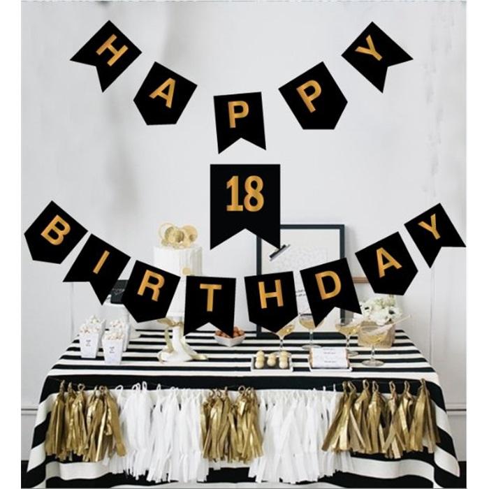 18 Yaş Gold Happy Birthday Yazı