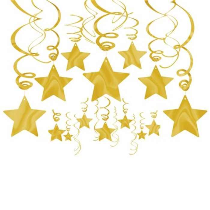 Altın Renkli Yıldız Dekor Süsler