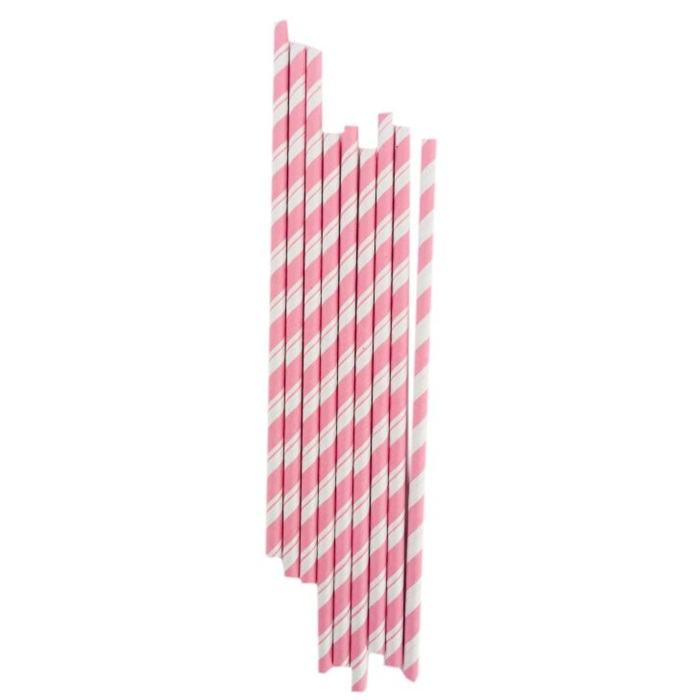 Pembe Çizgili Kağıt Pipet