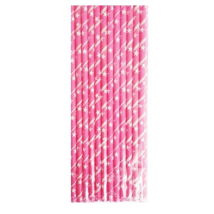 Pembe Yıldızlı Kağıt Pipet