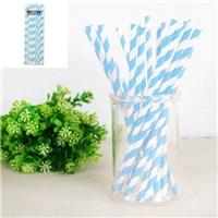 Mavi Çizgili Kağıt Pipet