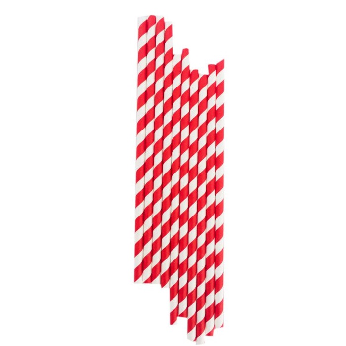Kırmızı Çizgili Kağıt Pipet