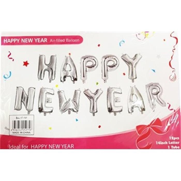 Happy New Year Gümüş Folyo Balon + Balon Pompası