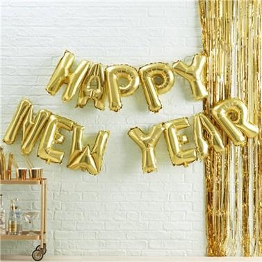 Happy New Year Gold Folyo Balon + Pompa