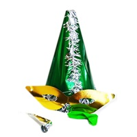 Yeşil Gümüş Püsküllü Parti Katyon Set Şapka
