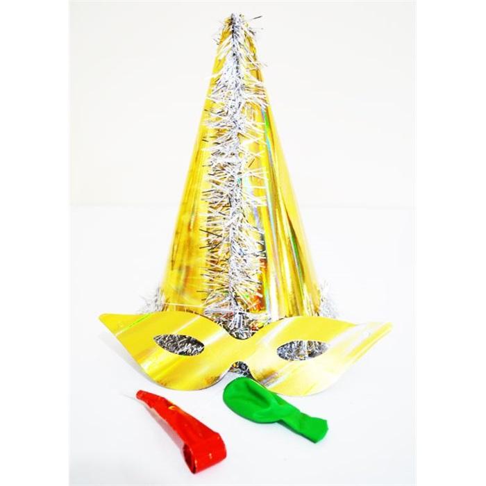 Sarı Gümüş Püsküllü Parti Katyon Set Şapka