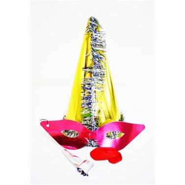 Sarı Gümüş Püsküllü Parti Katyon Şapka