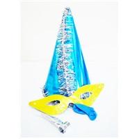 Mavi Gümüş Püsküllü Parti Katyon Set Şapka