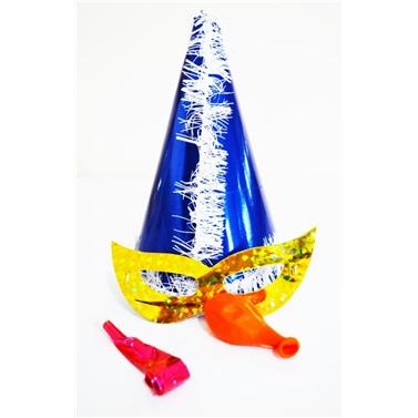 Lacivert Beyaz Püsküllü Parti Katyon Set Şapka