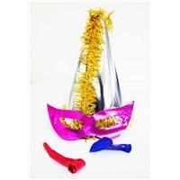 Gümüş Sarı Püsküllü Parti Katyon Set Şapka