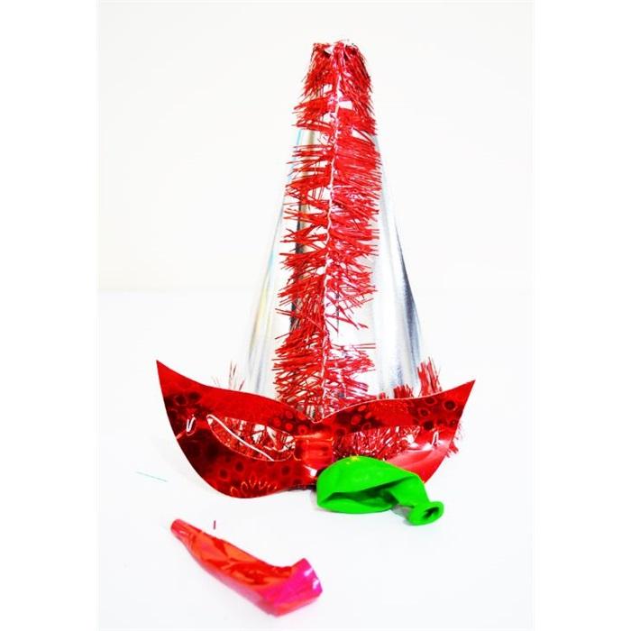 Gümüş Kırmızı Püsküllü Parti Katyon Şapka