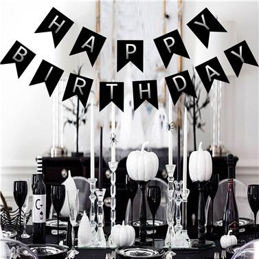 Simli Gümüş Siyah Happy Birthday Yazı