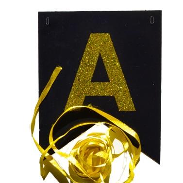 Simli Siyah Gold Happy Birthday Yazı