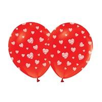 Kırmızı Üzerine Beyaz Kalpli Balon