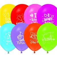 I Love You Karışık Renkli Balon