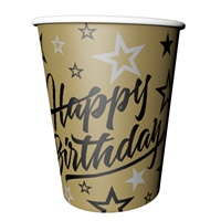Golden Stars Happy Birthday Temalı Karton Bardak